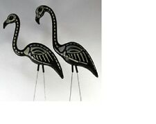 Pair Skeleton Flamingos Lawn Orn Halloween Goth Punk