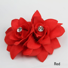 NEW Beautiful Double Flower Diamante Hair Clip, UK Seller