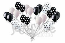 24 pc Polka Dot Black & White Latex Balloons Party Decoration Birthday Wedding