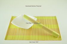 4 Bamboo Placemats Handmade Table Mats, Yellow - Cream (Light Brown), P007
