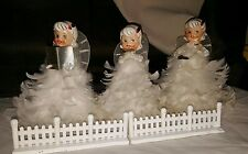 3 Rare Vintage Angel Christmas Figurines Japan  H H  8 inches tall feathers