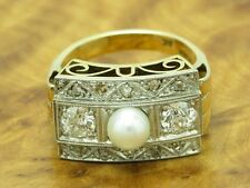 14kt 585 GOLD BICOLOR ART-DECO RING MIT 1,0ct BRILLANT & DIAMANT & AKOYA PERLEN