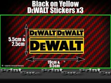 3 DEWALT Stickers decals toolbox tool box tool replacement builder Black Yellow