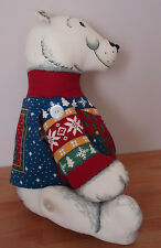 "POLAR BEAR 15"" button jointed plush w/Ugly Christmas Sweater Vest"