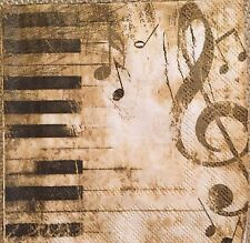 2 single paper napkins Decoupage collection Piano Music Notes