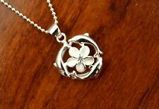 Hawaiian 925 Sterling Silver 3 Dolphin Plumeria Flower Pendant Necklace #SP81051