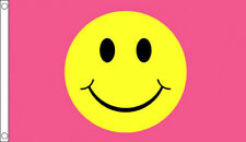 PINK SMILEY FACE FLAG Happy Smile Festival Party Fun