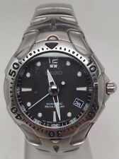 SEIKO KINETIC $525 MEN'S SILVER AUTO RELAY DRESS WATCH, BLACK DIAL, DATE  SMA003