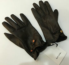 Paul Smith SWIRL Buttons BROWN LEATHER GLOVES Made in Italy Size L = 20cm / 8""
