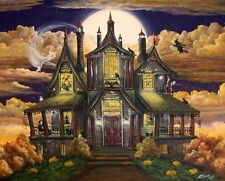 Halloween Art Haunted House Manor Ghosts Witches Skeleton Cats Byrum PRINT