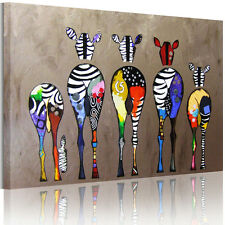 Canvas Prints READY TO HANG Wall Art Painting-Multicolored Zebra Framed US SHIP