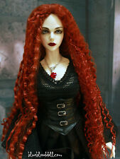 "1/3 bjd 9-10"" doll head orange red curly long wig Soom Luts dollfie Loongsoul"