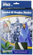 Grabber Space Hooded Emergency Survival Blanket Poncho Olive OD All Weather Camp