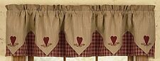 Country Primitive Sturbridge Wine Heart Pointed Valance Burgundy Plaid & Ticking