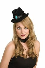 Mini Cowgirl Hat Jade Stone Cowboy Cow Girl Costume Black Western Womens Ladies