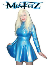 Misfitz pearlsheen blue rubber latex skater dress sizes 8-32/made to measure/TV