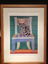 "Laura Fiume Animal Art Signed Lithograph Abstract Print ""Cat On A Chair"" 24X18"