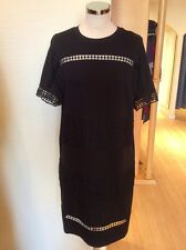Oui Dress Size 18 BNWT Black Open Work Trim RRP £159 Now £63