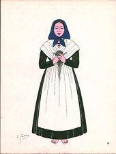 Gravure d'Emile Gallois costume des provinces françaises 1950 Corse