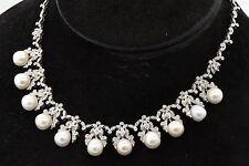 Heavy 18K gold elegant 3.25CT VS2/G diamond & 9.3mm pearl formal necklace