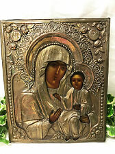 c.1900 ANTIQUE RUSSIAN ORTHODOX RELIGIOUS ICON MOTHER OF GOD OF IVERON IVERSKAYA