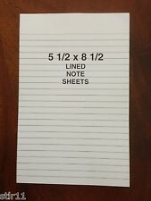 """Refill Note Paper - Loose Ruled Sheets - 5 1/2""""  x 8 1/2 """"  100 Sheets  Lot of 3"""