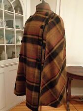 QUEEN OF THE CAPES Country Place plaid wool cape O/S fully lined fringed scarf