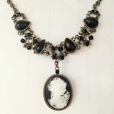 New Vintage Style Lady Cameo Black Luxury Pear Drop Charm Chain Necklace NE1283