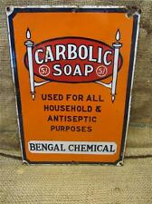 Vintage Porcelain Carbolic Soap Sign   Antique Old Signs Advertising 8608
