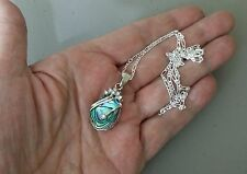 Abalone Shell and Rhinestone Pendant on Solid 925 Sterling Silver 18 Inch Chain