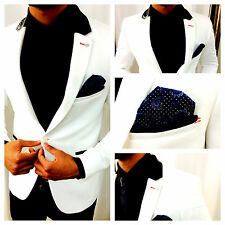 AX WEIß WHITE DESIGNER BUSINESS & PARTY SAKKO BLAZER JACKE TAILLIERT SLIM FIT