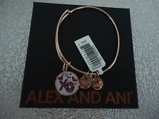Alex and Ani BRITTO XO ART INFUSION Charm Bangle Rose Gold New W/Tag Card & Box