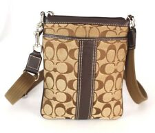 Authentic Coach Monogram Brown Canvas Leather Small Cross-body Shoulder Bag