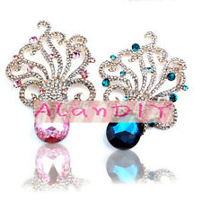 4 Alloy Rhinestone Blue Octopus Button cabochon Cell Phone Case Decoration