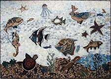 "50"" x 36""  Marble Mosaic Art Tile Stone Sea Creatures Various Fish In The Sea"