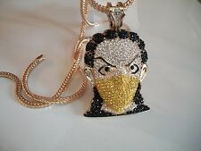 """Iced Out Gold Finish Goon Yellow Mask Man Pendant w/4mm 36"""" Franco Chain"""