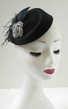 Black & Silver Feather Pillbox Hat Fascinator Vintage 1940s 1920s Headpiece W43