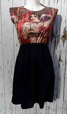 Tattooed Lady Black Dress - Size 10 12 14 - Poster Skater Tattoo Rockabilly
