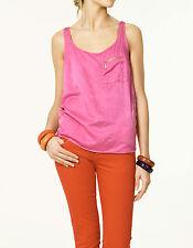 Nuevo Con Etiquetas Nueva Zara Color de rosa caliente Seda Mezcla De Tirantes Blusa Camisa M medio UK 10 NOS 6 Eu 38