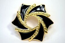 Enamel Black Gold Tone Circle Pin Brooch Signed Trifari Vintage Jewelry