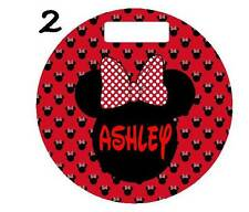 "MINNIE or MICKEY MOUSE BAG TAG Personalized 4"" Round LUGGAGE Sports Duffle Bags"