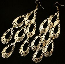 "MASSIVE 5""long GOLD PLATED big boho CHANDELIER EARRINGS"