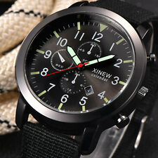 Men Military Quartz Army Watch Black Dial Date Stainless steel Sport Wrist Watch