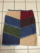 Frantic Jeans Skirt PATCHWORK CORDUROY Multi Color DENIM Pencil Sz 11/12