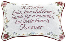A Mother Holds Her Children's Hands For A Moment, But Hearts Forever Word Pillow