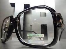 OLD SCHOOL VINTAGE RETRO RAPPER CLUB CLEAR LENS EYE GLASSES Square Black Frame