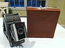 Vintage 1960's POLAROID Folding Land Camera MODEL J66 in Original Leather Case