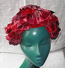 VINTAGE 40S 50S MITZI LORENZ HAT VELVET & SATIN DEEP RED BEAUTIFUL THEATRICAL