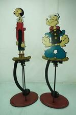 VINTAGE FLEISHER POPEYE & OLIVE OIL METAL SWING THROUGH PENDULUM TOYS