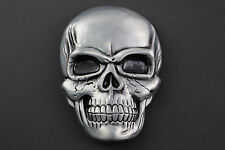 MASSIVE GREY GNASH SKULL BELT BUCKLE METAL